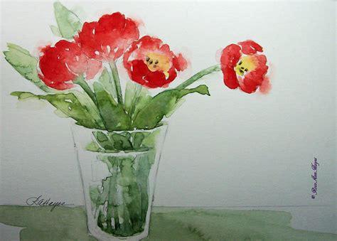 Watercolor Flowers In Vase by Watercolor Paintings By Roseann