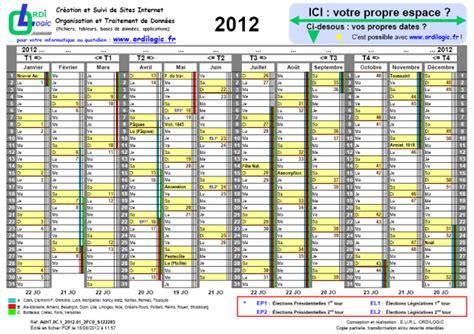Calendrier 2012 Semaine Ordilogic Fr Calendrier Annuel 2012 Avec Dates Lectorales