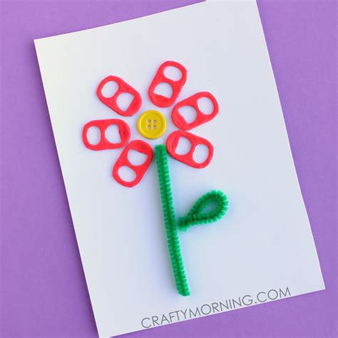 crafty card soda pop tab flower card craft idea crafty morning