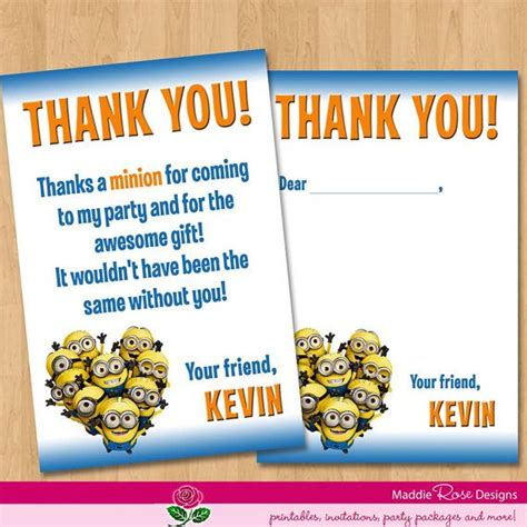 printable minion thank you cards pinterest discover and save creative ideas