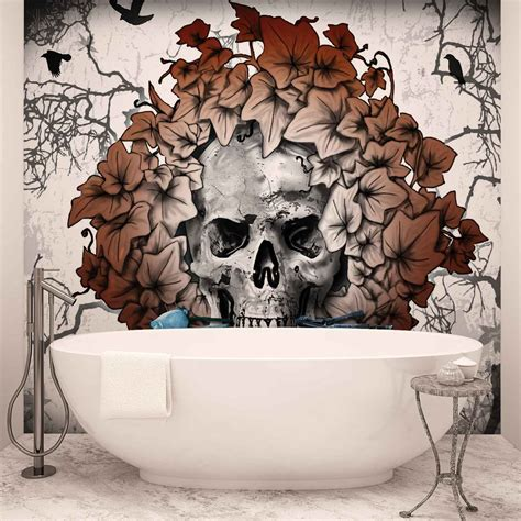 tattoo flower mural alchemy skull flowers tattoo wall mural photo wallpaper