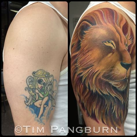 lion cover up tattoo collection of 25 cover up design