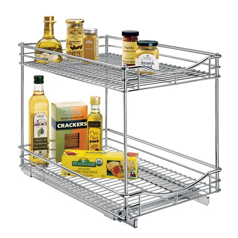 sliding cabinet organizer two tier sliding cabinet organizer 14 inch in pull out