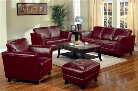 genuine burgundy leather contemporary sofa 2 chairs set
