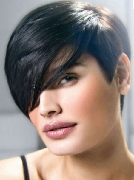 what is the shortest length hair for v shape women boyish haircuts with very long swept bang with