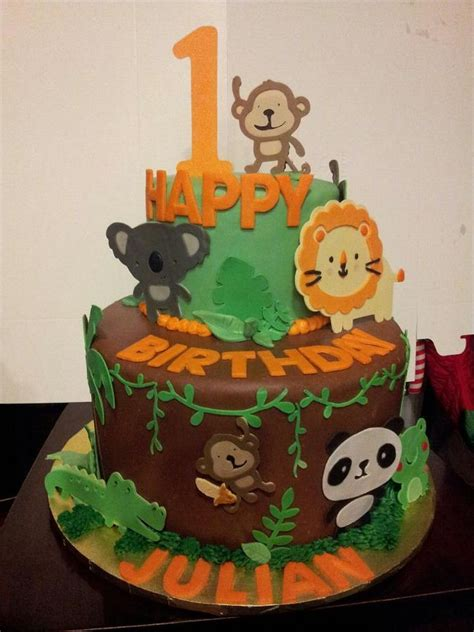 jungle themed birthday cake jungle themed birthday cake kids pinterest