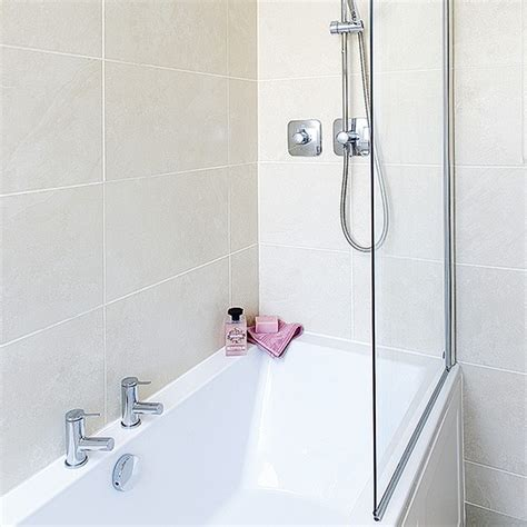 bath shower attachment neutral tiled bathroom with bath and shower attachment housetohome co uk
