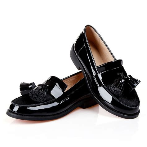 womens black patent leather oxford shoes tassel horsehair genuine patent leather black