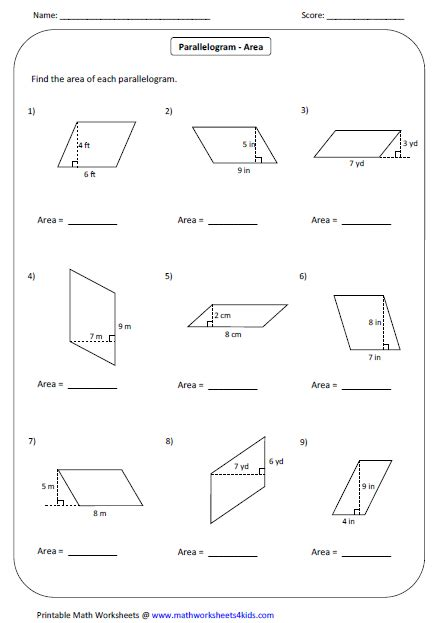 Free Printable Area Of Parallelogram Worksheets | area of a rhombus worksheet free worksheets library