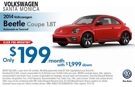 volkswagen beetle special lease offers los angeles  payment discounts