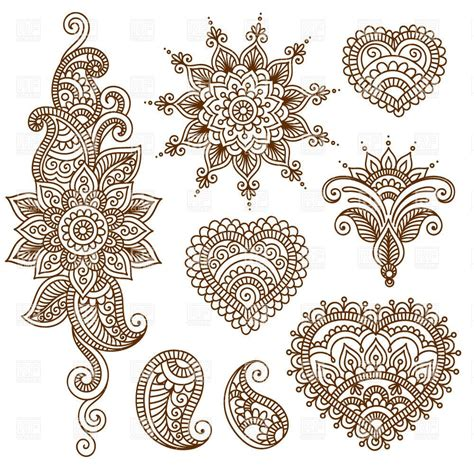 indian henna tattoo pinterest indian ethnic tracery set of mendi style ornaments