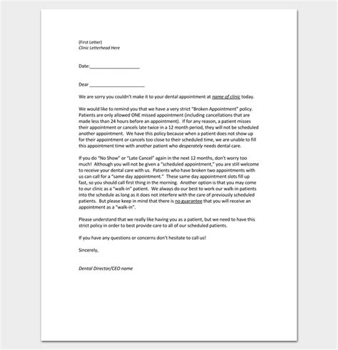 credit card on file for missed appointments template appointment cancellation letter 10 sles exles formats