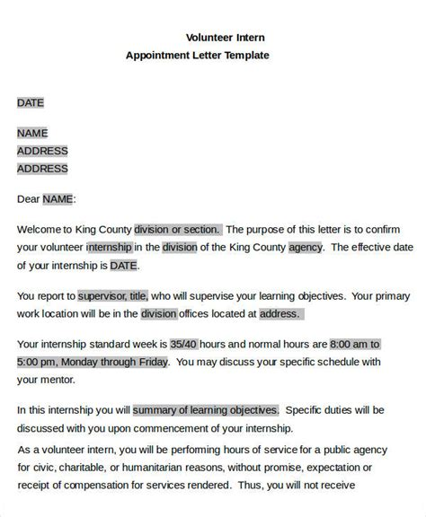 volunteer appointment letter template official appointment letter templates 8 free word pdf