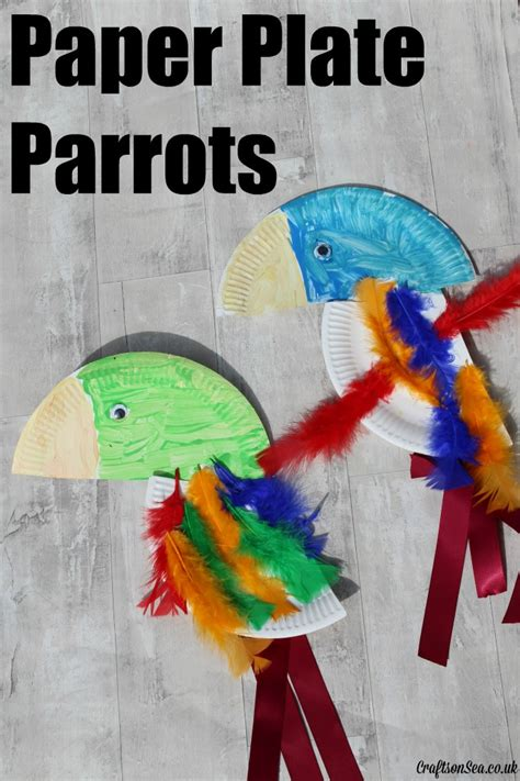 Paper Plate And Craft - paper plate parrots crafts on sea