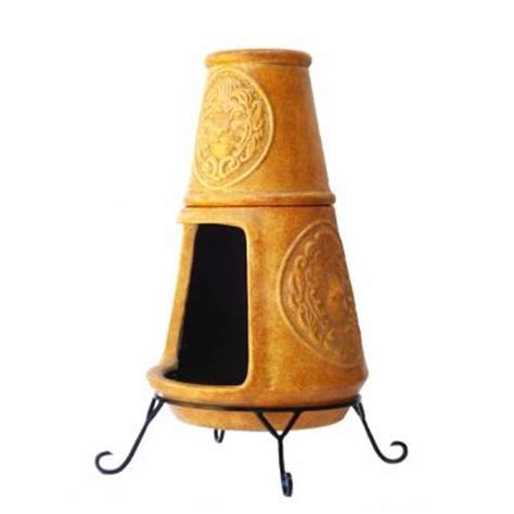 clay chiminea in rustic yellow