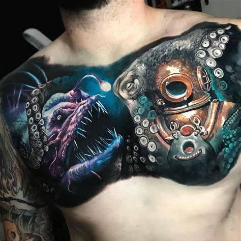 deep sea tattoo sea with octopus angler fish diver best