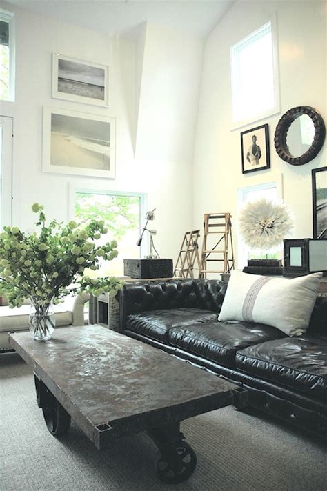 Black Leather Tufted Sofa Eclectic Living Room Black Sofa Living Room