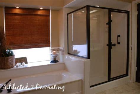 Painting Shower Door Frame Master Bathroom Makeover On A Budget