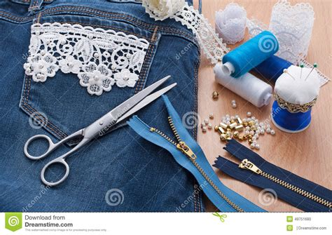 decorating with denim decorating jeans lace and beads stock photo image 49751680