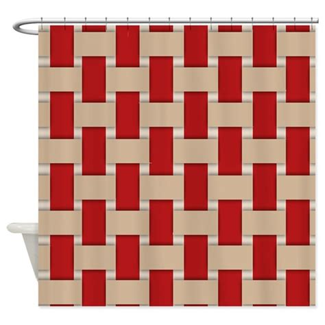 red and tan shower curtain red and beige weave shower curtain by jqdesigns