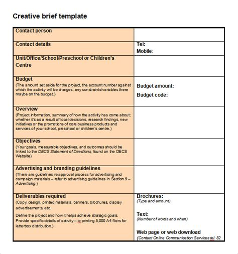 copy brief template sle creative brief template 9 free documents in pdf