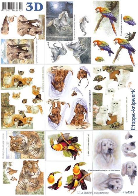 Decoupage Animals - mini animal 3d decoupage designs