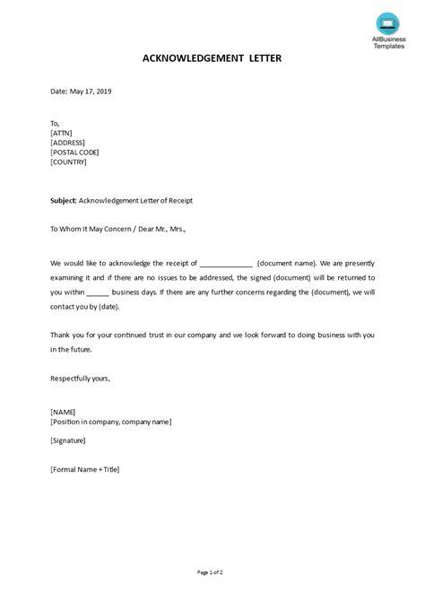 write acknowledgement letter easy