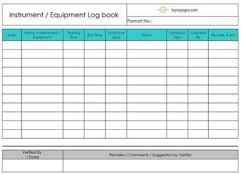 equipment logbook instrument logbook