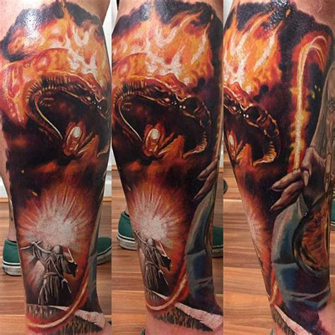 gandalf vs balrog tattoo by kristian kimonides