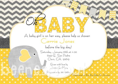 Grey And Yellow Baby Shower by Yellow And Gray Elephant Baby Shower Invitation 12 50