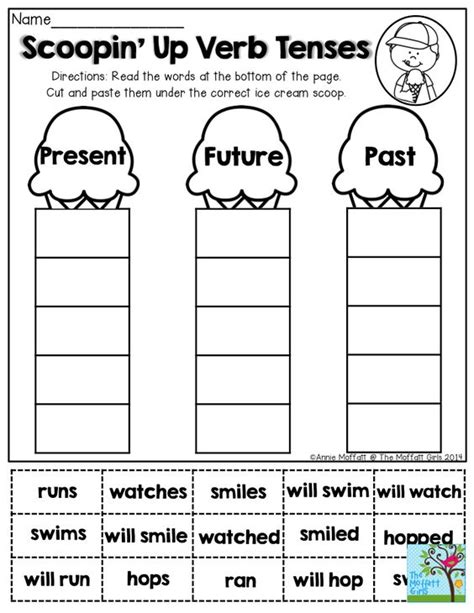 printable games for verb tenses cut and paste ice and ice cream cones on pinterest