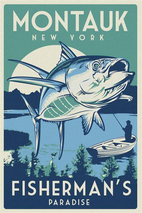 printable fish poster vintage retro fishing montauk new york silk screen print