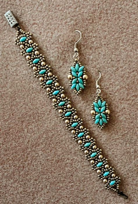 duo bead patterns s crafty inspirations bracelet and earring set duo