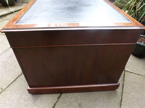 Antique Sided Partners Desk by Early C19th Regency Period Mahogany Sided Pedestal