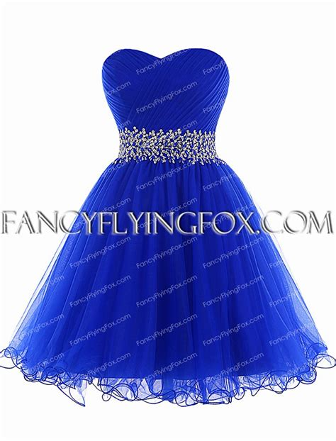 Cute Royal Blue Short Puffy Prom Dress With Beads at fancyflyingfox.com