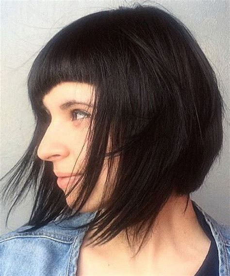 layered chin length blunt cut with bangs hairstyle pic 40 classy short bob haircuts and hairstyles
