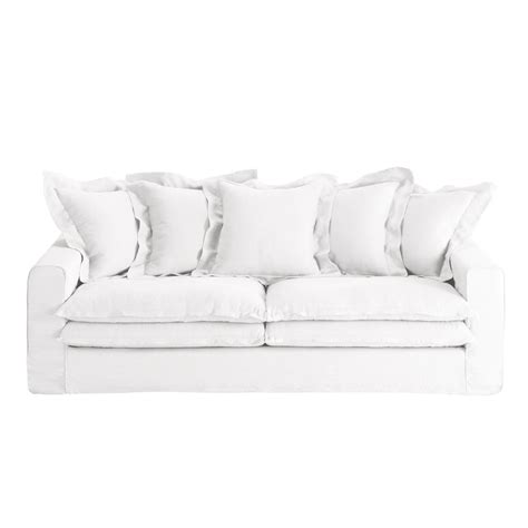 white linen sofa uk 3 4 seater linen sofa in white lisbonne maisons du monde