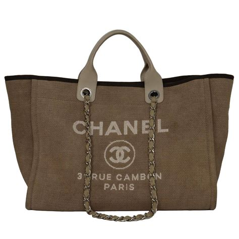 chanel beige canvas medium deauville tote bag shw at 1stdibs