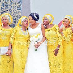 aso ebi style for blue and yellow colour nigerian wedding peach and red ore iyawo aso ebi color