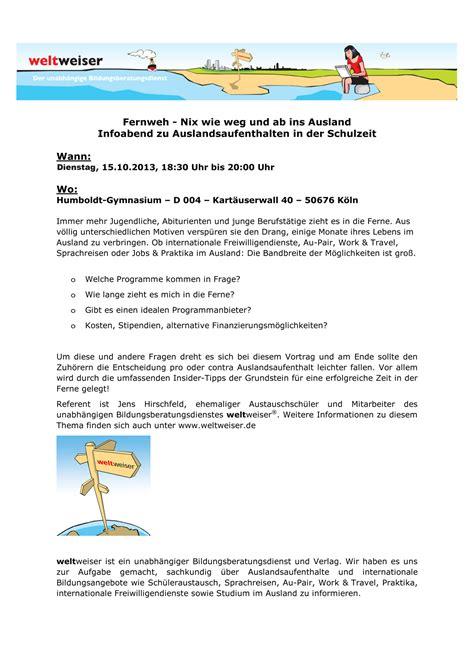 Muster Einladung Au Pair Humboldt Gymnasium K 246 Ln Infos Und Aktuelles