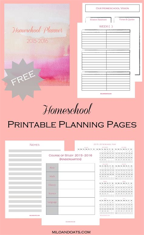 free printable homeschool planner pages free 2015 2016 homeschool lesson planner