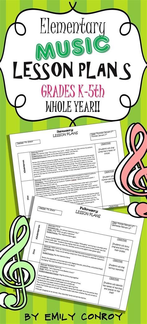 sample lesson plan template elementary music templates picture cute