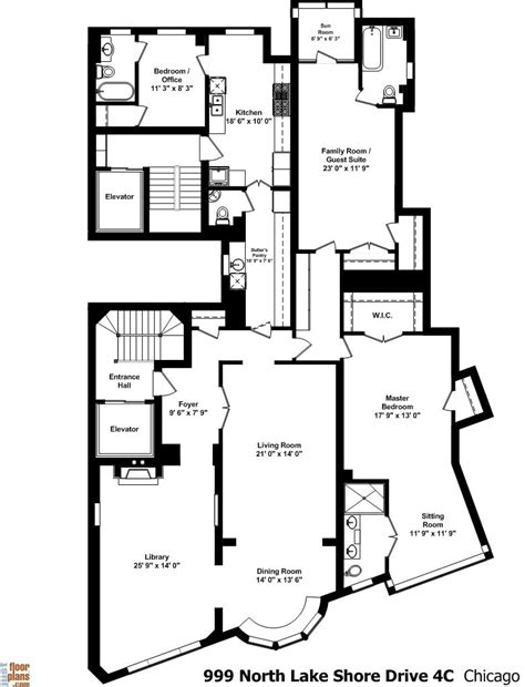 999 North Lake Shore Drive | Floor plans, Best flooring, House plans