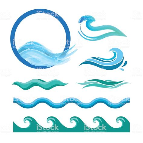 sea wave logos vector free stock vector set of blue waves stock vector more images of