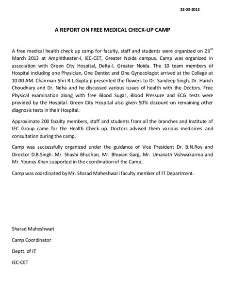 request letter for dental check up a report of free health check up c