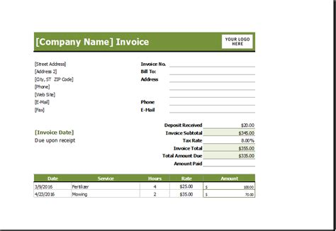 lawn care invoice template lawn mowing receipt excel invoice templates