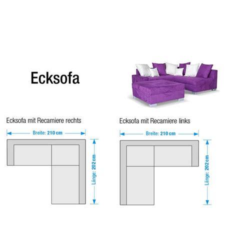 eckcouch links ecksofa stoff lila 3 sitzer sofa eckcouch