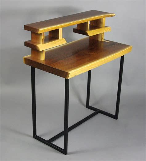 live edge black walnut writing desk with steel legs
