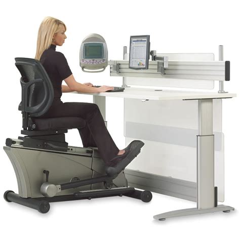 Exercise At Desk by The Elliptical Machine Office Desk Hammacher Schlemmer