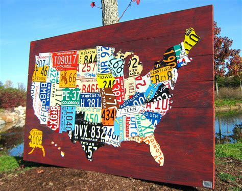 usa map license plates large license plate map of the united states 60 x